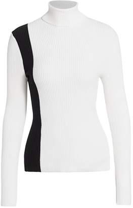 3.1 Phillip Lim Colorblock Rib-Knit Wool Turtleneck Sweater