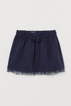 H&M Corduroy Skirt with Tulle - Blue