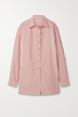 ANNA QUAN - Alfie Oversized Striped Cotton-blend Poplin Shirt - Antique rose