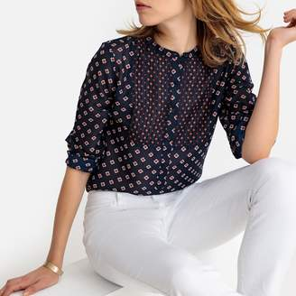 La Redoute Collections Pleated Mandarin Collar Blouse with Tile Print and Long Sleeves