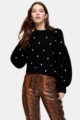 Topshop Womens Black Spot Embroidered Jumper - Black
