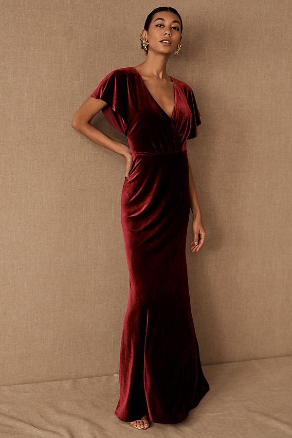 Jenny Yoo Ellis Velvet Dress By in Purple Size 0