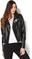 New York & Co. Embroidered Faux-Leather Moto Jacket