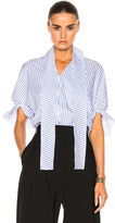 J.W.Anderson Ruched Sleeve Top in Blue,Stripes.
