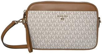 MICHAEL Michael Kors Jet Set Charm Large East/West Camera Crossbody (Vanilla/Acorn) Handbags