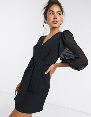 ASOS DESIGN wrap front mini dress with dobby puff sleeves in black