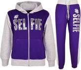 a2z4kids Kids Girls Tracksuit #SELFIE Print Hoodie & Bottom Jog Suit New Age 7-13 Years