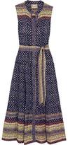 Sea Printed Silk Midi Dress - Navy