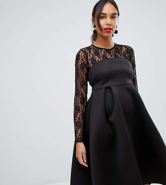 Asos Lace Long Sleeve Crop Top Prom Dress-Black