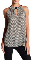 Acrobat Front Cutout Sleeveless Print Silk Tank Top