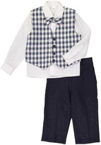 Isaac Mizrahi Gingham Vest, Long Sleeve Shirt, Pants & Bow Tie 4-Piece Set (Toddler & Little Boys)