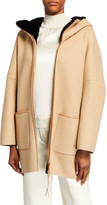 Agnona Cashmere Zip-Front Jacket with Fur-Lined Hood