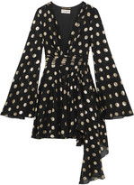 Saint Laurent Asymmetric Polka-dot Fil Coupé Silk-blend Georgette Wrap Mini Dress - Black