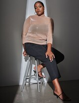 Thumbnail for your product : ELOQUII Sequin Mesh Mock Neck Top