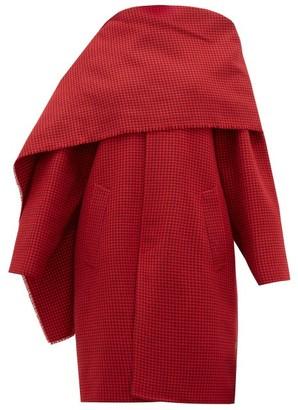Balenciaga Draped Neckline Houndstooth Wool Coat - Womens - Red Multi