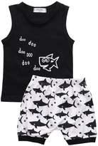 Juicart Baby Boys Girl's Summer Cotton Sleeveless Outfits Set Tops+Pants (12-18 Months)