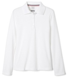 French Toast Big Girls Long Sleeve Interlock Knit Polo with Picot Collar