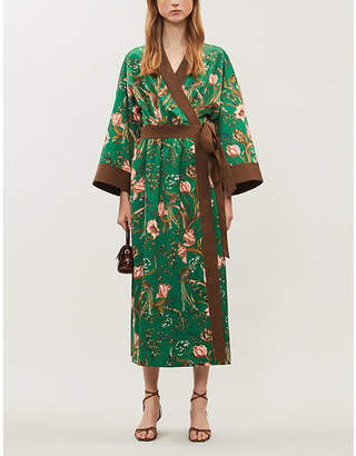 HAPPY X NATURE Lyric floral-print recycled polyester-blend kimono dress