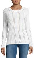 DKNY ?Sheer Ribbed Crewneck Sweater
