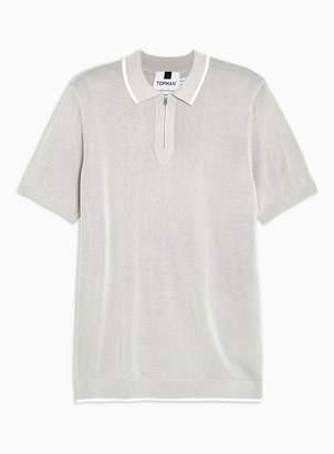 Topman Mens Short Sleeve Grey Zip Polo