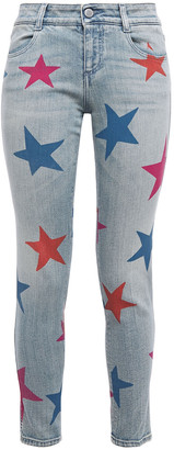 Stella McCartney Cropped Printed Mid-rise Skinny Jeans