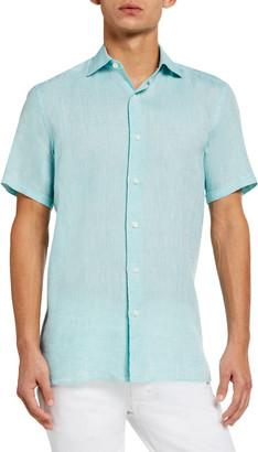 Ermenegildo Zegna Men's Solid Linen Regular-Fit Sport Shirt