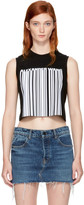 Alexander Wang Black Sleeveless Cropped Barcode T-Shirt