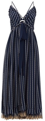 Chloé Double-strap Silk-blend Crepe Dress - Denim