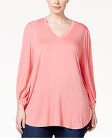 Melissa McCarthy Trendy Plus Size Bishop-Sleeve Top