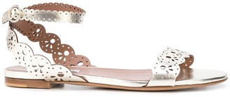 Tabitha Simmons Metallic Lace Sandals