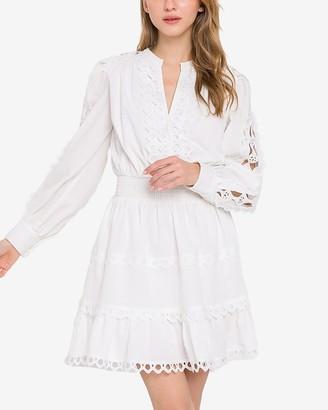 Express Endless Rose White Long Sleeve Lace Mini Dress