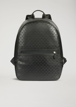 Emporio Armani Backpack In Bovine Leather With All-Over Logo Print