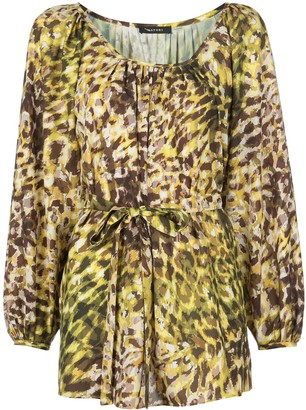 Natori Tie-Waist Leopard-Print Tunic