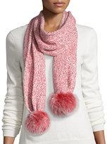 Sofia Cashmere Marled Cashmere Fur Pompom Scarf, Red