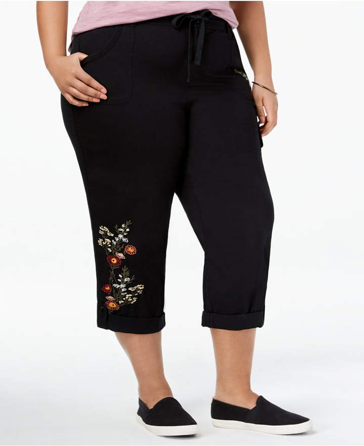 Style&Co. Style & Co Plus Size Bloomfields Embroidered Capri Pants, Created for Macy's