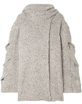 See by Chloe Tie-neck Marled Ribbed-knit Wrap Cardigan