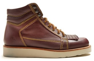 J.W.Anderson Contrast-stitch Leather Boots - Womens - Burgundy