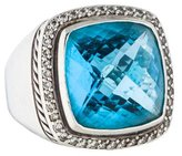 David Yurman Diamond & Blue Topaz Albion Ring