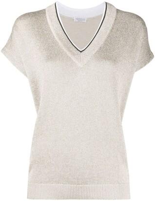 Brunello Cucinelli Short-Sleeve Knit Top
