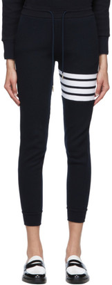 Thom Browne Navy Waffle Knit 4-Bar Lounge Pants