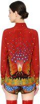 Valentino Volcano Print Silk Crepe De Chine Shirt
