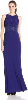 JS Boutique Women's Long Jersey Gown with Scattered Beads at Waist