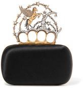 Alexander McQueen Pegasus Embellished Satin Box Clutch - Black