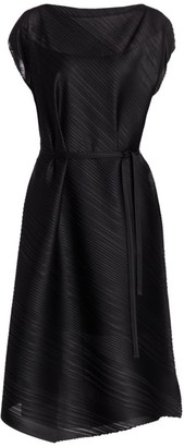 Pleats Please Issey Miyake Musical Score Sleeveless Midi Dress