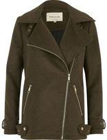 River Island Womens Khaki green wool blend aviator coat