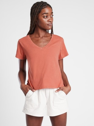 Athleta Organic Daily Crop V-Neck Tee