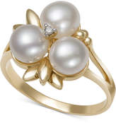 Belle de Mer Cultured Freshwater Pearl (6mm) and Diamond Accent Ring in 14k Gold, Only at Macy's