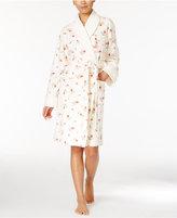 Lauren Ralph Lauren Contrast Shawl Collar Floral Wrap Robe