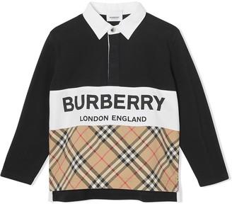 BURBERRY KIDS Logo Print Polo Shirt