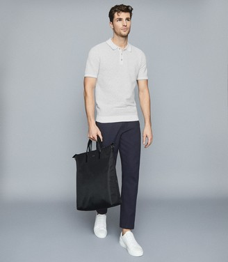 Reiss Cheyenne - Textured Polo Shirt in White/grey